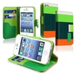 Insten® Leather Wallet Case For Apple iPhone 4/4S, Green/Orange