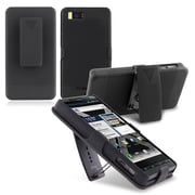 Insten® Snap-in Rubber Coated Case/Holster Combo For Motorola Droid X2, Black