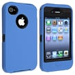 Insten® Silicone Hybrid Case For Apple iPhone 4/4S, Black/Blue
