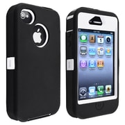 Insten® Silicone Hybrid Case For Apple iPhone 4/4S, White/Black