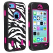 Insten® Silicone Hybrid Case For Apple iPhone 5C, Hot Pink/Black White Zebra