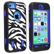 Insten® Silicone Hybrid Case For Apple iPhone 5C, Light Blue/Black White Zebra