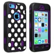 Insten® Silicone Hybrid Case For Apple iPhone 5C, Purple/ Black White Dot