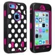 Insten® Silicone Hybrid Case For Apple iPhone 5C, Hot Pink/Black White Dot
