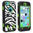 Insten® Silicone Hybrid Case For Apple iPhone 5C, Green/Black White Zebra