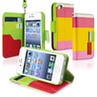 Insten® Leather Wallet Case For Apple iPhone 4/4S, Red/Yellow/Pink