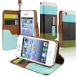 Insten® Leather Wallet Case For Apple iPhone 4/4S, Blue/Black/Green