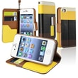 Insten® Leather Wallet Case For Apple iPhone 4/4S, Yellow/Black/Red