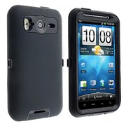 Insten® Silicone Hybrid Case For HTC Inspire 4G/Desire HD, Black/Black