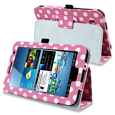 Insten® Leather Case With Stand For 7in. Samsung Galaxy Tab 2 P3100/P3110, Pink/White Polka Dot