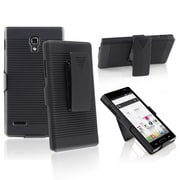 Insten® Plastic Swivel Holster With Stand For LG Optimus L9 P769, Black