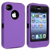 Insten® Silicone Hybrid Case For Apple iPhone 4/4S, Black/Purple