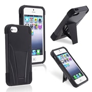 Insten® Silicone Hybrid Case With Stand For Apple iPhone 5/5S, Black/Black