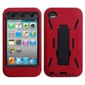 Insten® Silicone Protector Case With Symbiosis Stand For iPod Touch 4th Gen, Black/Red