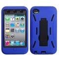 Insten® Rubber Protector Case With Symbiosis Stand For iPod Touch 4th Gen, Black/Blue