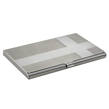 Insten® Aluminum Business Card Case With Snap Closure, Cross Silver