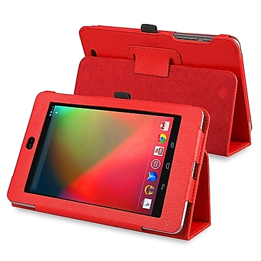 Insten® Leather Case With Stand For Google Nexus 7 2012 Edition, Red