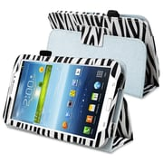 "Insten PSAM3200LC23 Synthetic Leather Folio Case for 7"" Samsung Galaxy Tab 3, White/Black Zebra"