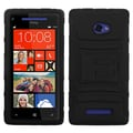 ASMYNA Advanced Armor Silicone Protector Case With Stand For HTC 6990LVW/Windows 8X, Black/Black