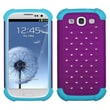 ASMYNA Silicone Protector Case For Samsung Galaxy S III/i747, Purple/Tropical Teal Lattice Dazzling