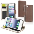 Insten® Leather Wallet Case With Card Holder For Apple iPhone 5/5S, Brown