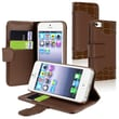 Insten® Leather Case With Card Holder For Apple iPhone 5/5S, Brown Crocodile Skin