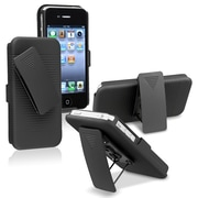 Insten® Plastic Swivel Holster With Stand For Apple iPhone 4/4S, Black
