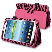 Insten® Leather Case With Stand For 7 Samsung Galaxy Tab 3 P3200/Kids, Pink/Black Zebra
