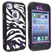 Insten® Silicone Hybrid Case For Apple iPhone 4/4S, Purple/Black White Zebra