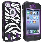 Insten® Silicone Hybrid Case For Apple iPhone 4/4S, Purple/Black White Zebra