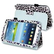 "Insten PSAM3200LC24 Synthetic Leather Folio Case for 7"" Samsung Galaxy Tab 3, White/Purple Leopard"
