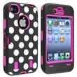 Insten® Silicone Hybrid Case For Apple iPhone 4/4S, Hot Pink/Black White Dot