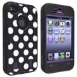 Insten® Silicone Hybrid Case For Apple iPhone 4/4S, Purple/Black White Dot