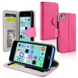 Insten® Leather Wallet Case With Stand For Apple iPhone 5C, Hot Pink