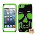 Insten® Silicone Hybrid Protector Case For iPod Touch 5th Gen, Solid Black/Electric Green Skullcap
