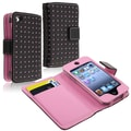 Insten® Leather Wallet Case For iPod Touch 4th Gen, Black/Pink Dots