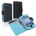 Insten® Leather Wallet Case For iPod Touch 4th Gen, Black/Blue Dot