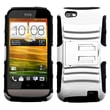 ASMYNA Advanced Armor Rubber Protector Case With Stand For HTC One V T320e, White/Black