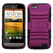 ASMYNA Advanced Armor Rubber Protector Case With Stand For HTC One V T320e, Hot Pink/Black