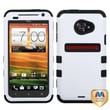 MYBAT™ TUFF Rubber Coated Hybrid Case For HTC EVO 4G LTE, Ivory White/Black