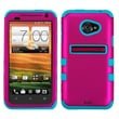 MYBAT™ TUFF Rubber Coated Hybrid Case For HTC EVO 4G LTE, Titanium Solid Hot Pink/Tropical Teal