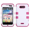 MYBAT™ TUFF Silicone Hybrid Phone Protector Case For LG MS770 Motion 4G, Ivory White/Hot Pink