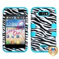 MYBAT™ TUFF Rubberized Hybrid Protector Case For LG MS770 Motion 4G, Zebra Skin/Tropical Teal