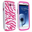 Insten® Silicone Hybrid Case For Samsung Galaxy S III i9300, Hot Pink/White Zebra