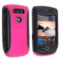 Insten® TPU Rubber Hybrid Case For RIM BlackBerry Torch 9800/9810, Black/ Hot Pink