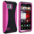 Insten® Hybrid TPU Rubber Case For Motorola Droid Bionic XT875, Hot Pink/Black