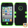 MYBAT™ TUFF Silicone Hybrid Phone Protector Case For iPhone 4/4S, Black/Electric Green