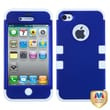 MYBAT™ TUFF Silicone Hybrid Phone Protector Case For iPhone 4/4S, Dark Blue/Solid White