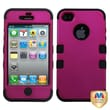 MYBAT™ TUFF Silicone Hybrid Phone Protector Case For iPhone 4/4S, Solid Hot Pink/Black