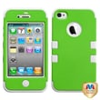 MYBAT™ TUFF Silicone Hybrid Phone Protector Case For iPhone 4/4S, Dr Green/Solid White